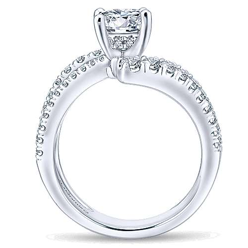 Umbra 14k White Gold Round Bypass Engagement Ring angle 2