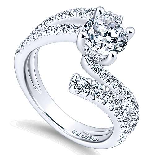 Umbra 14k White Gold Round Bypass Engagement Ring angle 3