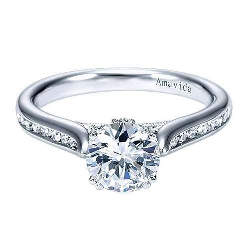 Gabriel - Unite 18k White Gold Round Straight Engagement Ring
