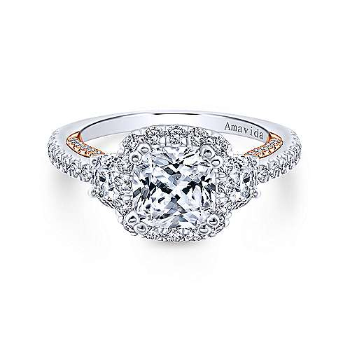 Gabriel - Valentina 18k White And Rose Gold Cushion Cut 3 Stones Halo Engagement Ring