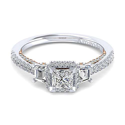 Gabriel - Valentina 18k White And Rose Gold Princess Cut 3 Stones Engagement Ring