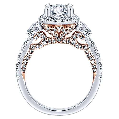 Valentina 18k White And Rose Gold Round 3 Stones Halo Engagement Ring angle 2