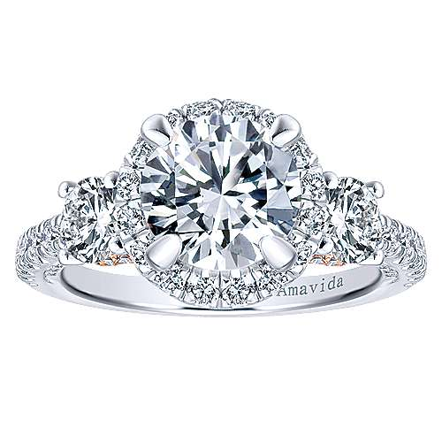 Valentina 18k White And Rose Gold Round 3 Stones Halo Engagement Ring