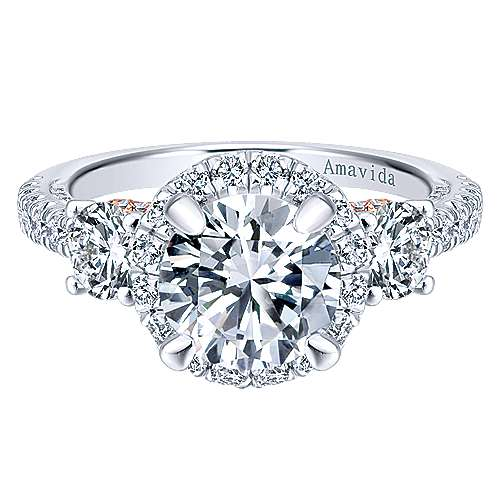 Gabriel - Valentina 18k White/pink Gold Round 3 Stones Halo Engagement Ring