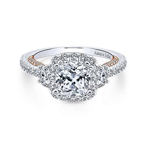 Gabriel - Valentina 18k White/rose Gold Cushion Cut 3 Stones Halo Engagement Ring