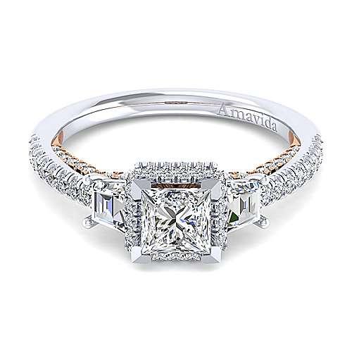Gabriel - Valentina 18k White/rose Gold Princess Cut 3 Stones Engagement Ring