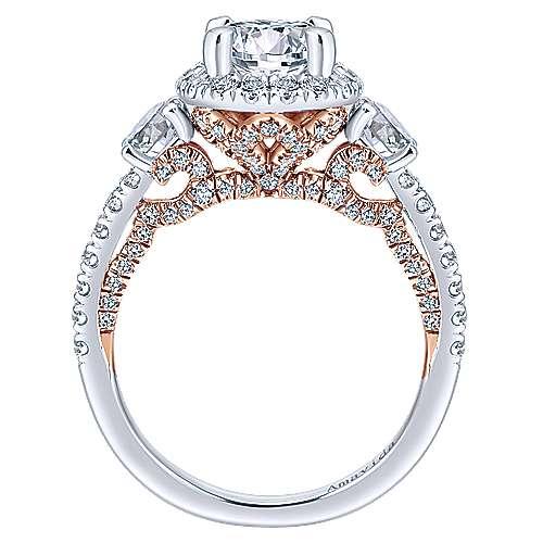 Valentina 18k White/rose Gold Round 3 Stones Halo Engagement Ring angle 2