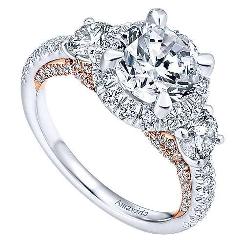 Valentina 18k White/rose Gold Round 3 Stones Halo Engagement Ring angle 3