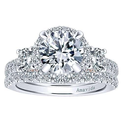 Valentina 18k White/rose Gold Round 3 Stones Halo Engagement Ring angle 4