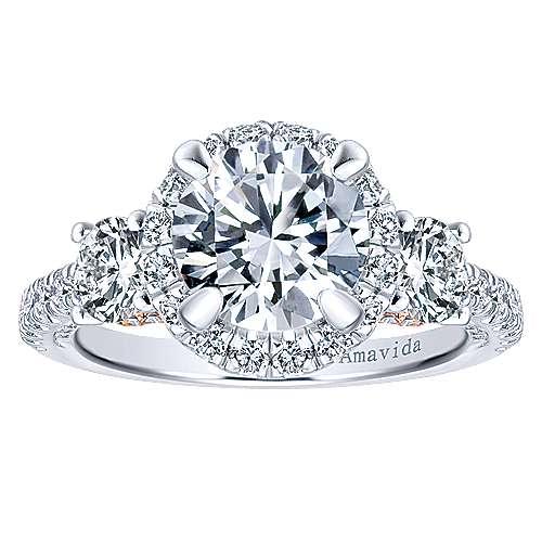 Valentina 18k White/rose Gold Round 3 Stones Halo Engagement Ring angle 5