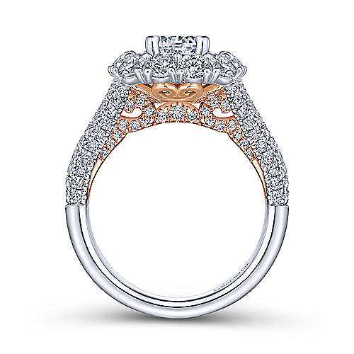 Valentine 14k White And Rose Gold Round Double Halo Engagement Ring angle 2