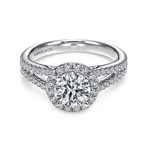 Gabriel - Valeria 14k White Gold Round Halo Engagement Ring