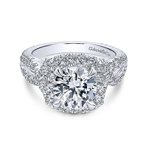 Gabriel - Valeriana 18k White Gold Round Halo Engagement Ring