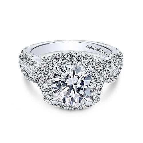 Valeriana 18k White Gold Round Halo Engagement Ring angle 1
