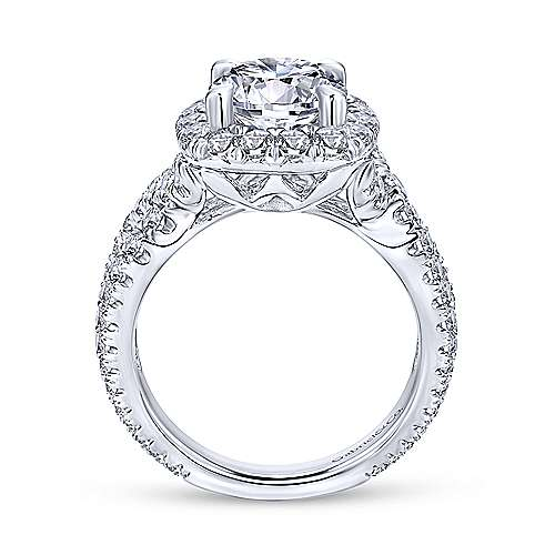Valeriana 18k White Gold Round Halo Engagement Ring