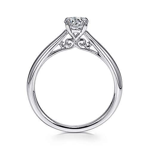 Valerie 14k White Gold Round Solitaire Engagement Ring angle 2