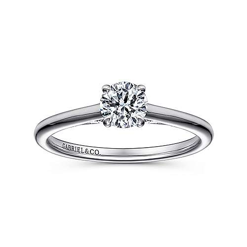 Valerie 14k White Gold Round Solitaire Engagement Ring angle 5