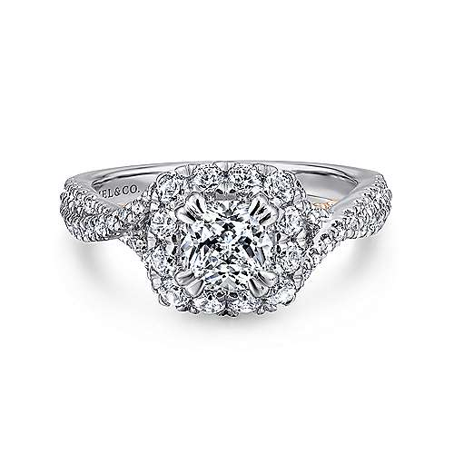 Gabriel - Vanessa 14k White And Rose Gold Cushion Cut Halo Engagement Ring
