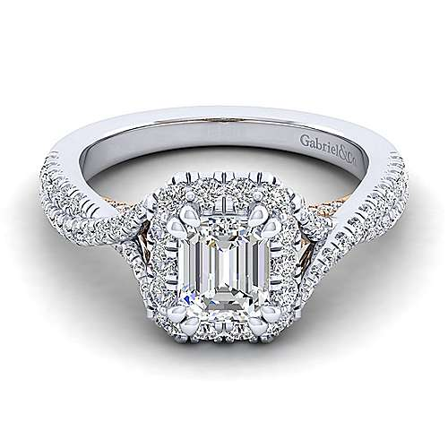 Gabriel - Vanessa 14k White And Rose Gold Emerald Cut Halo Engagement Ring