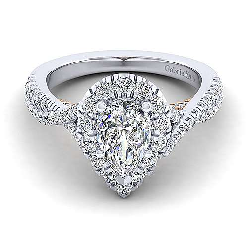 Gabriel - Vanessa 14k White And Rose Gold Pear Shape Halo Engagement Ring