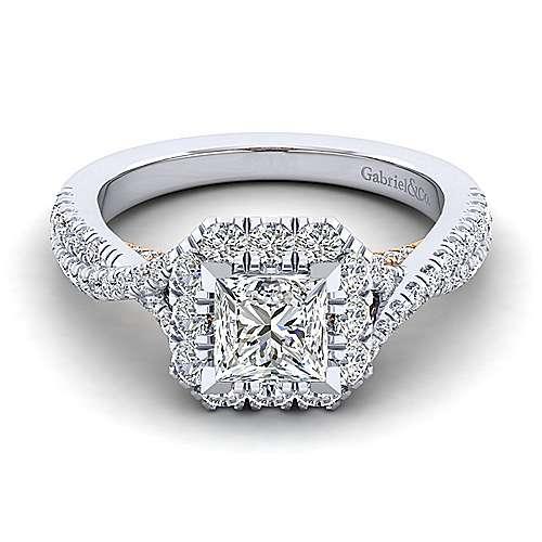 Gabriel - Vanessa 14k White And Rose Gold Princess Cut Halo Engagement Ring