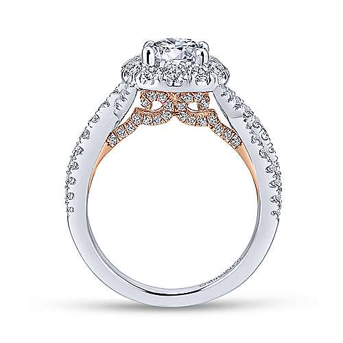 Vanessa 14k White And Rose Gold Round Halo Engagement Ring