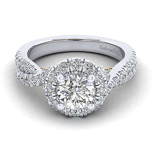 Gabriel - Vanessa 14k Yellow And White Gold Round Halo Engagement Ring