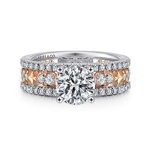 Gabriel - Vanity 14k White And Rose Gold Round Straight Engagement Ring