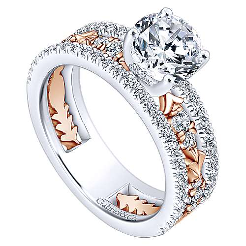 Vanity 18k White And Rose Gold Round Straight Engagement Ring