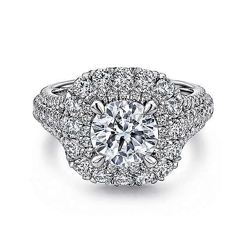 Gabriel - Vanora 14k White Gold Round Halo Engagement Ring