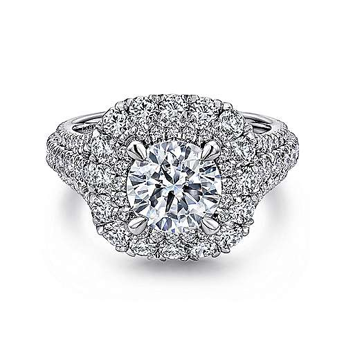 Gabriel - Vanora 18k White Gold Round Halo Engagement Ring