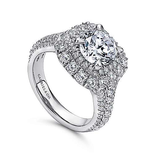 Vanora 18k White Gold Round Halo Engagement Ring angle 3