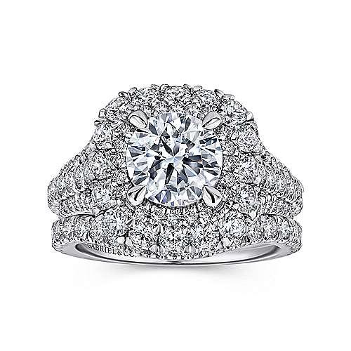 Vanora 18k White Gold Round Halo Engagement Ring angle 4