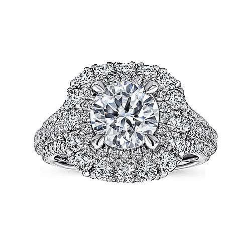 Vanora 18k White Gold Round Halo Engagement Ring angle 5