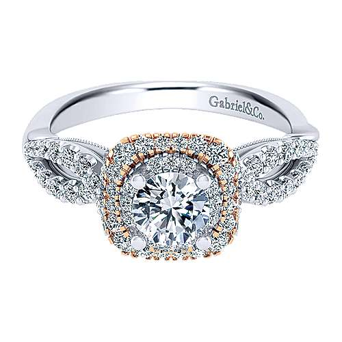 Gabriel - Veda 14k White And Rose Gold Round Double Halo Engagement Ring