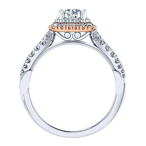 Veda 14k White And Rose Gold Round Double Halo Engagement Ring