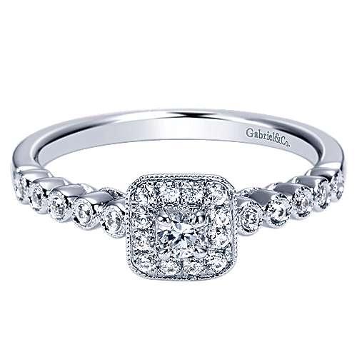Gabriel - Vegas 14k White Gold Round Halo Engagement Ring