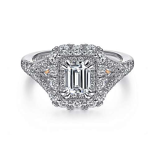 Venetia 14k White And Rose Gold Emerald Cut Double Halo Engagement Ring angle 1