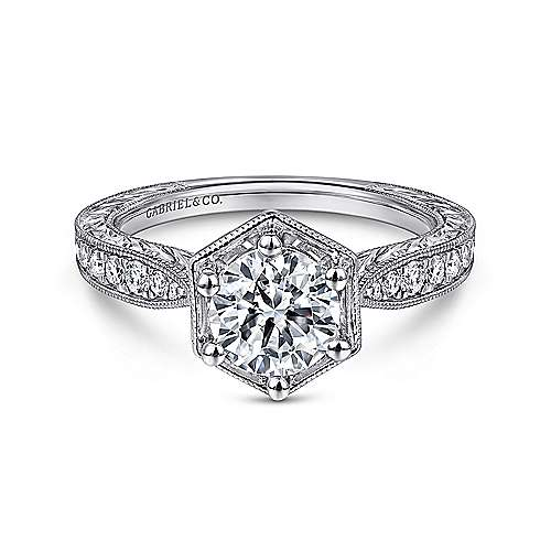 Venice 14k White Gold Round Straight Engagement Ring