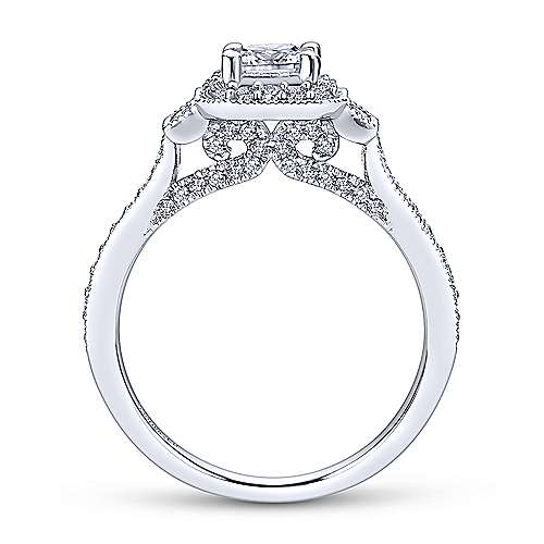 Venus 14k White Gold Princess Cut 3 Stones Halo Engagement Ring angle 2
