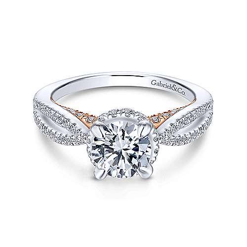 Gabriel - Vera 14k White And Rose Gold Round Split Shank Engagement Ring
