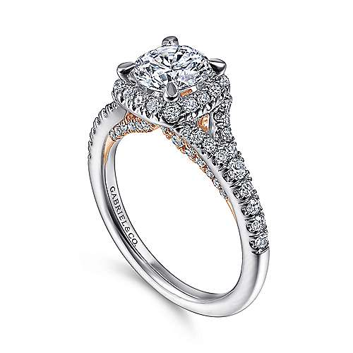 Verbena 14k White And Rose Gold Round Halo Engagement Ring angle 3