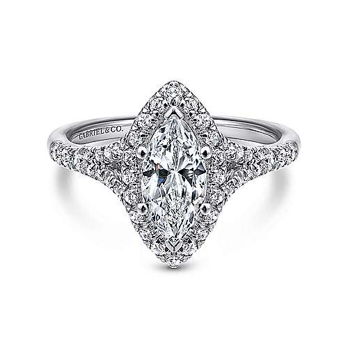 Gabriel - Verbena 14k White Gold Marquise  Halo Engagement Ring