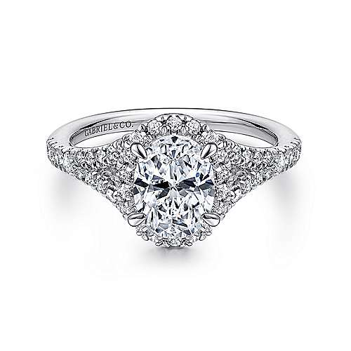 Gabriel - Verbena 14k White Gold Oval Halo Engagement Ring