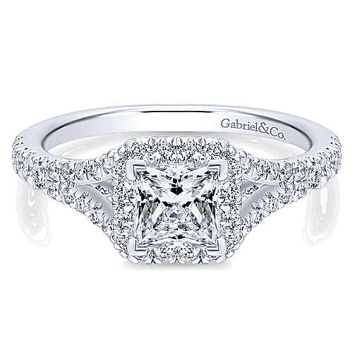 Verbena 14k White Gold Princess Cut Halo Engagement Ring angle 1