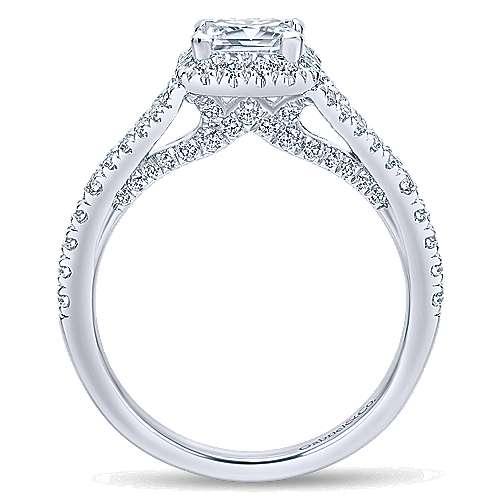 Verbena 14k White Gold Princess Cut Halo Engagement Ring angle 2
