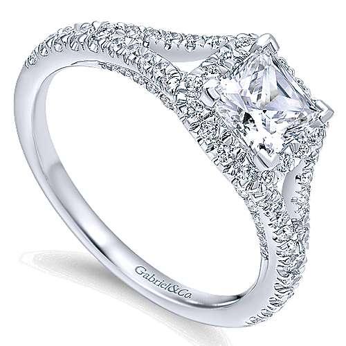 Verbena 14k White Gold Princess Cut Halo Engagement Ring angle 3