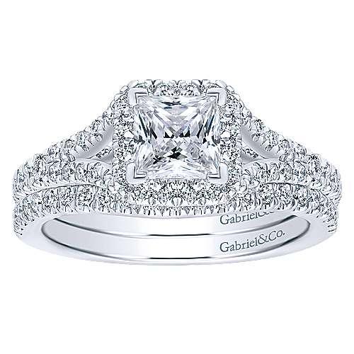 Verbena 14k White Gold Princess Cut Halo Engagement Ring angle 4