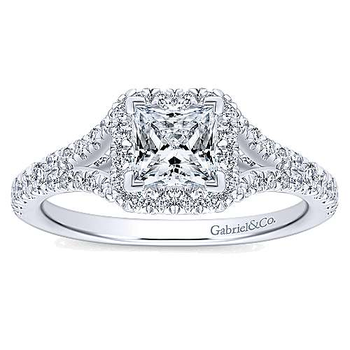 Verbena 14k White Gold Princess Cut Halo Engagement Ring angle 5