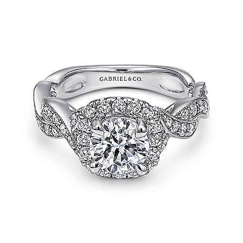 Gabriel - Verona 18k White Gold Round Halo Engagement Ring